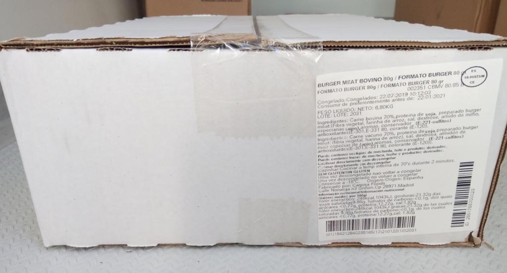 Hamburguer Carne Extra 6,8kg cx (85 unid.x80grs)
